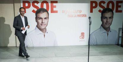 El portavoz del comité electoral del PSOE, Antonio Hernando, este viernes.