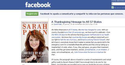 Captura de la página de Facebook de la ex gobernadora de Alaska, Sarah Palin, donde enumera las equivocaciones del presidente estadounidense Barack Obama.