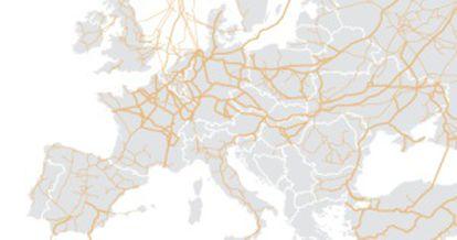 Red de gasoductos Rusia - Europa