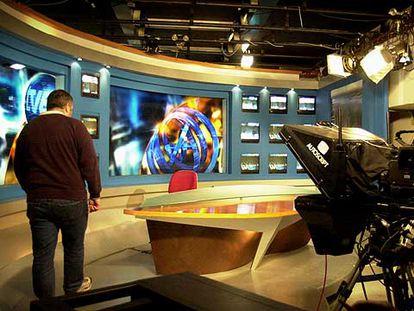 Plató de los informativos de TVE en la sede del parque tecnológico de Paterna, Valencia.