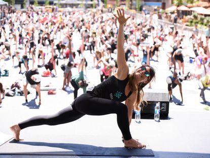 Lauren Taus durante un acto promocional de Fitbit en Nueva York.
