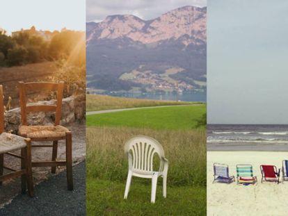 La silla de Domingo el carpintero, la omnipresente 'monobloc' blanca y la de tubo de aluminio que reaparece cada julio multiplicada como los panes y los peces.  