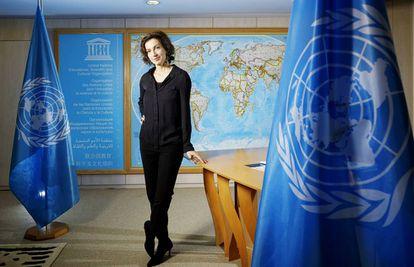 Audrey Azoulay, directora general de la Unesco, en su despacho en la sede de la institución en París.