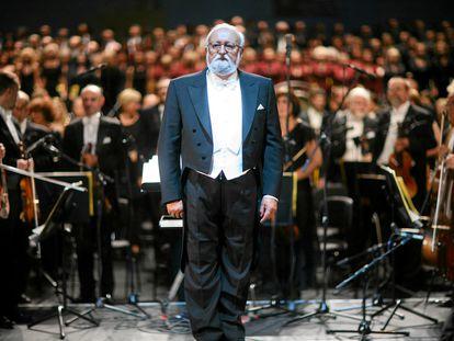 El compositor Krzysztof Penderecki en un concierto Gran Teatro de Lodz en 2009.