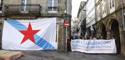 Manifestación en Santiago contra la ilegalización de la plataforma Causa Galiza, en 2016.