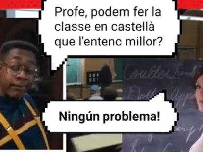 Captura del vídeo de la campaña 'La universitat, en català!'.