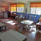 Un aula completamente vacía de un colegio de la Comunidad de Madrid.