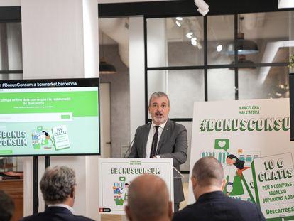 El primer teniente de alcalde de Barcelona, Jaume Collboni, presenta la plataforma online bcnMarket.