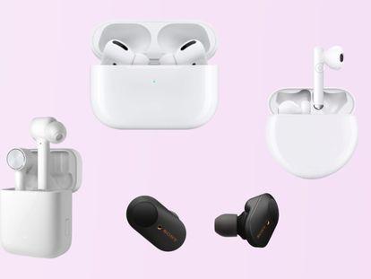 De izquierda a derecha: Xiaomi Airdots Pro, Apple AirPods Pro ,Sony WF-1000XM3 y Huawei Freebuds 3.