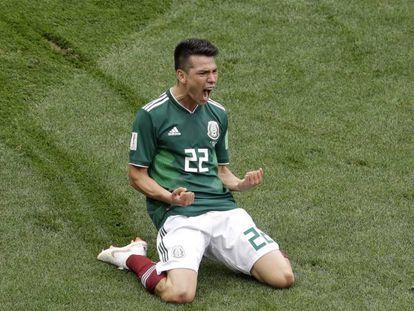 Lozano, celebra el gol ante Alemania.