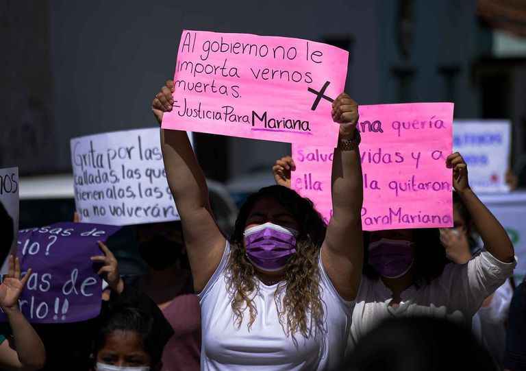 The protest this Sunday to demand justice for Mariana Sánchez in Chiapas.