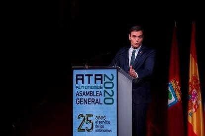 El presidente del Gobierno, Pedro Sánchez, durante la clausura del congreso de la Asociación de Trabajadores Autónomos.