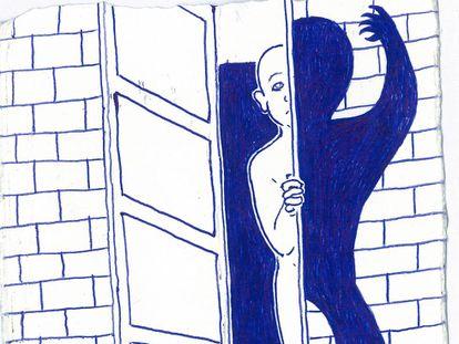 Uno de los dibujos que Ramón Esono ha hecho desde la cárcel de Black Beach en Malabo.