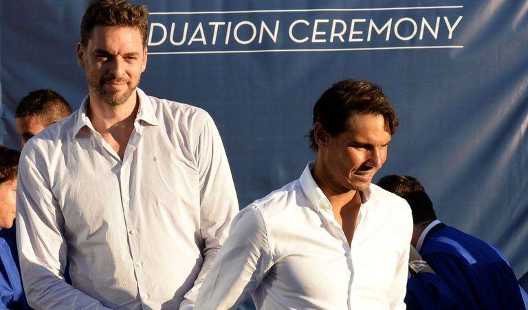Rafa Nadal y Pau Gasol, en un acto en 2018 en la academia del tenista en Manacor
