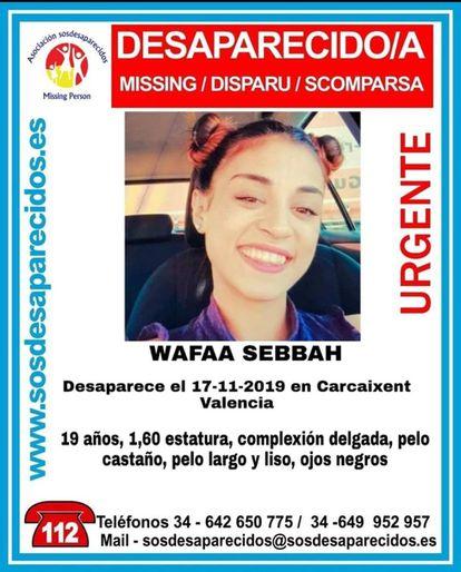 Cartel por la desaparición de Wafaa Sabbah en 2019.