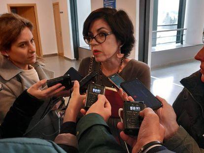 Pilar de Lara durante sus declaraciones de hoy miércoles a la prensa.