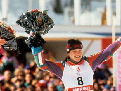 Fernández Ochoa, tras conseguir la medalla de bronce en Albertville en 1992.