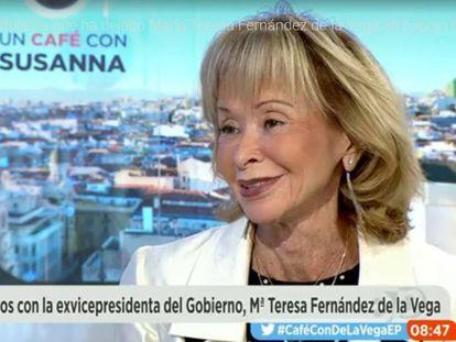 Teresa Fernández de la Vega, durante su entrevista en Antena3.