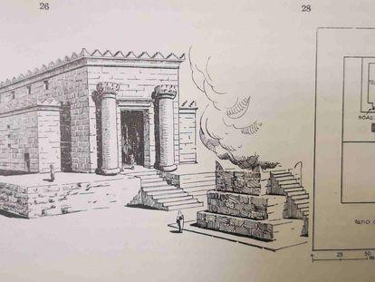 Vista hipotética que el arqueólogo García y Bellido hizo del templo Hércules Gaditanus, en 1968, basándose en el de Jerusalén.