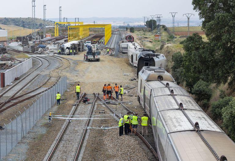 Tramo en el que se produjo el accidente del Alvia, que descarriló el martes cerca de La Hiniesta, en Zamora.