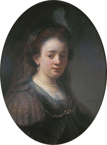 Saskia van Uylenburch (1612-1642), esposa de Rembrandt, en el atelier del pintor. Actualmente en posesión del Estado holandés.