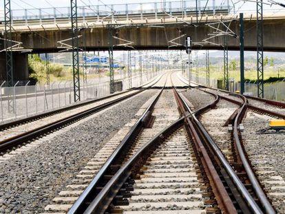 Una vía de la red ferroviaria que gestiona Adif.