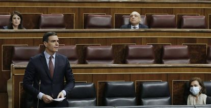 El presidente del Gobierno, Pedro Sánchez, en el Congreso de los Diputados.