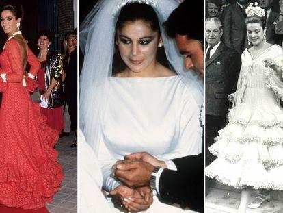 De izquierda a derecha, Naty Abascal en 1990, Isabel Pantoja en su boda con Paquirri en 1983 y Grace Kelly en 1966.