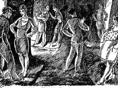 Fragmento de un dibujo de Martí Bas i Blasi en 'L'Esquella de la Torratxa'.