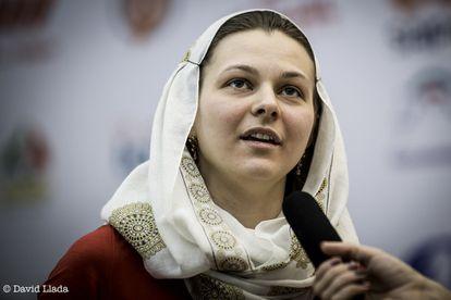 Anna Muzychuk, ayer, durante la final del Mundial en Teherán