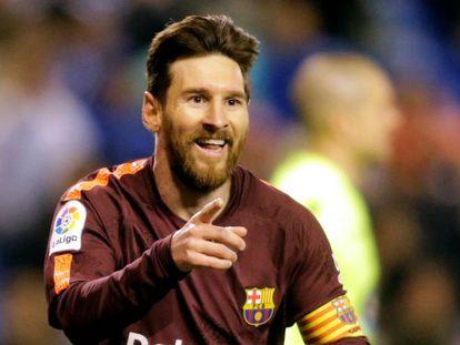 Messi festeja este año un tanto ante el Deportivo.
