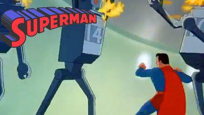 Fotograma de uno de los cortos animados de Superman.