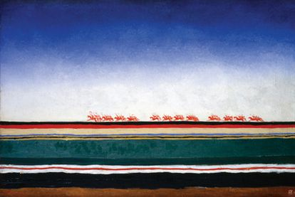 <i>La caballería roja</i> <i>(circa</i> 1930), de Kazimir Malévich, obra incluida en la exposición <i>La caballería roja. Creación y poder en la Rusia soviética (1917-1945)</i>, en La Casa Encendida, de Madrid.
