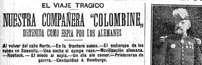 Titular de la pieza del 'Heraldo de Madrid' enviada por Carmen de Burgos desde Alemania el 25 de agosto de 1914, al comienzo de la Primera Guerra Mundial.