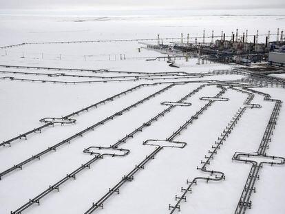 Gasoducto en la península de Yamal, en el Ártico.