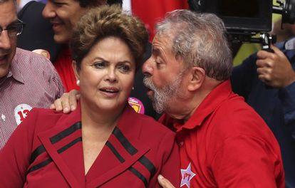 Dilma y Lula en un mitin el 3 de octubre