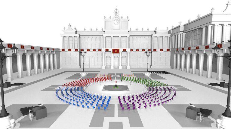 Representación virtual del acto de este jueves en la Plaza de la Armería del Palacio Real de Madrid.