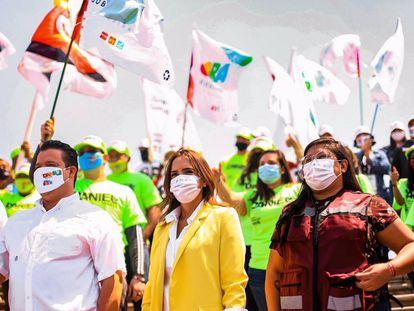 La candidata a la gubernatura de Nuevo León por Morena, Clara Luz Flores, durante un evento el pasado 20 de marzo.