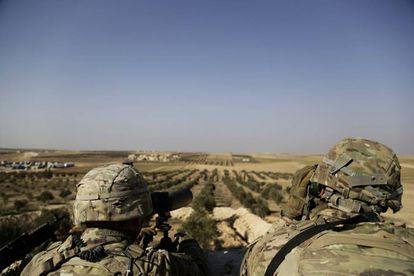Soldados estadounidenses, cerca Manbij, en el norte de Siria, en una imagen del pasado febrero.