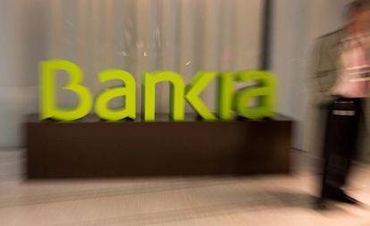 Logo de Bankia en su sede central de Madrid.