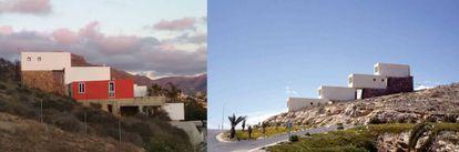 A la izquierda, el estado actual de la vivienda, ampliada en 2006, que Fisac construyó para su familia en 1968 con el propósito de ser respetuoso con el entorno natural.