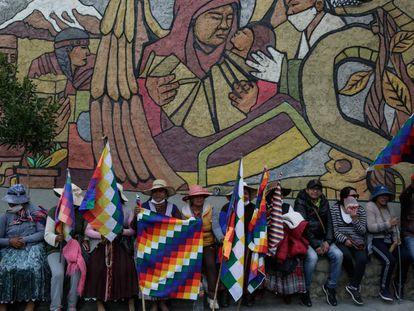 Simpatizantes de Evo Morales en La Paz este 14 de noviembre.