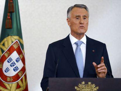 El presidente de Portugal, Aníbal Cavaco Silva, en su discurso.
