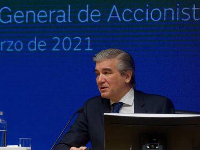 Francisco Reynés, presidente y consejero delegado de Naturgy, durante la última junta de accionistas, en marzo.