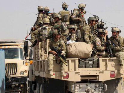 Fuerzas especiales afganas, este martes en los alrededores de Kunduz.