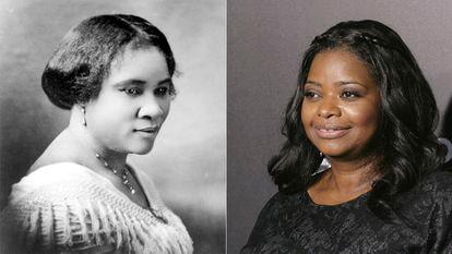 Madam C.J. Walker (Sarah Breedlove) en una fotografía de 1914. A la derecha, Octavia Spencer, la actriz que da vida a esta emprendedora en la serie 'Self Made'.