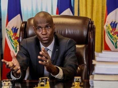 El presidente de Haití, Jovenel Moïse, durante una conversación con EL PAÍS por videollamada el pasado febrero.