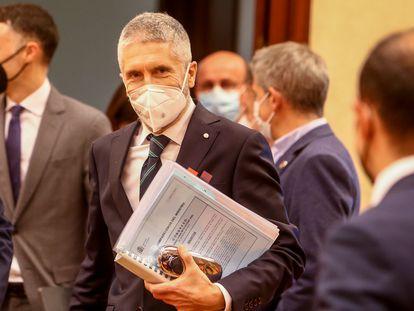 El ministro del Interior, Fernando Grande-Marlaska, a su llegada a la Comisión sobre Seguridad Vial del Congreso de los Diputados, en Madrid, el 25 de marzo de 2021.