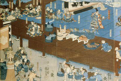 Obra de Utagawa Kuniyoshi (1797-1861) sobre Ashikaga Takauji (1305-1358).
