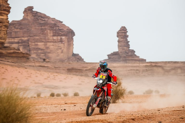 Nacho Cornejo, during the tenth stage of the Dakar Rally, in which he left after completing the special.